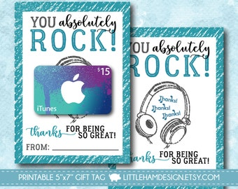 Printable You Rock iTunes Thank You Card // Music Gift Card Holder // Thank You Gift Tag // Teacher & Friend Gift // Instant Download 5x7
