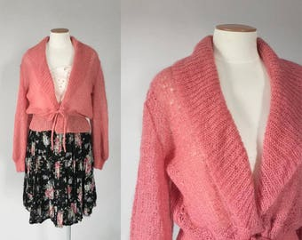 Vintage 1980s soft rose pink sheer lacy pointelle cropped shawl cardigan / 80s cardigan sweater / medium m