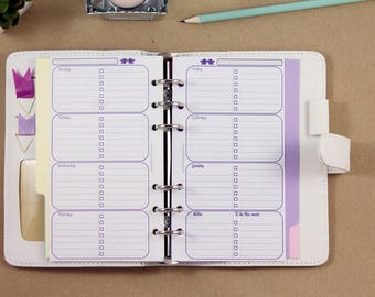 Weekly planner inserts, Filofax Personal inserts, week on two pages agenda, printed inserts