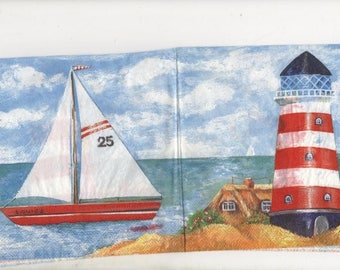 3238 - Set of 2 napkins paper boat and lighthouse