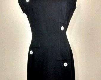 Vintage Mod Black Sleeveless Sheath Dress, Mid Century, Fitted