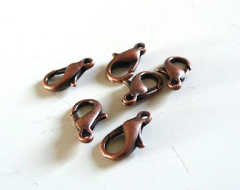 clasps copper 1.2 cm set of 10