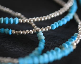 Round turquoise beads and silver sand beads necklace (N0063)