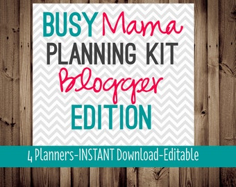 Blog Planner, Meal Planner, Cleaning-Busy Mama Planning Kit-Blogger Edition-48 Sheets-Chevron