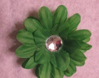 Green 2  Inch Gerber Daisy Hair Clip