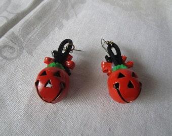 Vintage Halloween Jack o Lantern Bells Large Dangle Pierced Earrings