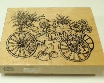 PSX K-1990 Autumn Cart Wood Mounted Rubber Stamp By Personal Stamp Exchange