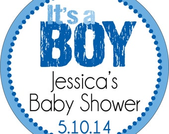 Personalized Glossy It's a Boy (or Girl) Baby Shower Stickers - many designs to choose from - can change colors, wording, etc.BR-002