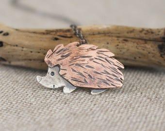 Hedgehog Necklace, Copper, Silver