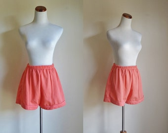Vintage 70s Shorts, Orange Shorts, 1970s Hotpants, Sherbet Shorts, Elastic Waist Shorts, Short Shorts, Polyester Shorts, Small Medium