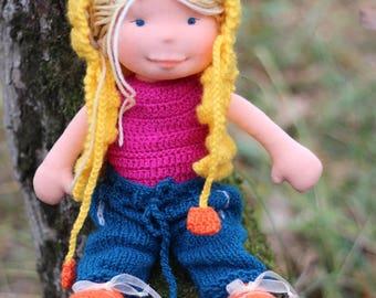 Waldorf doll,Waldorf sculptural face doll,organic doll,eco friendly,14'' Waldorf inspired doll,steiner doll,cloth doll,OOAK doll