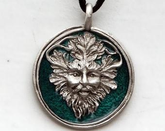 Pewter and Enamel Green Man Pendant