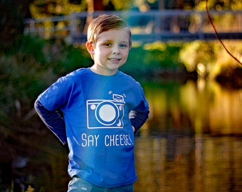 Camera shirt, say cheese shirt, photography shirt, toddler shirt, children shirt, retro camera, smile shirt, photographer shirt, vintage