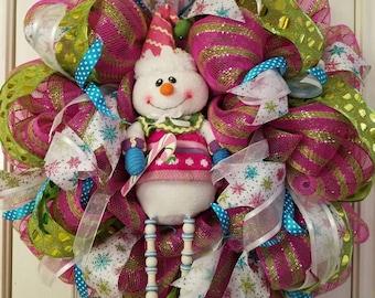 Pink Snowman Wreath
