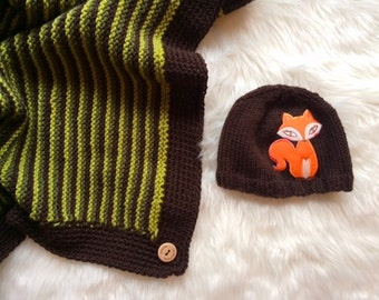 Fox In The Forest Blanket and Hat Knitting PATTERN - Knit Your Own Blanket and Hat