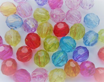 6mm Transparent Acrylic Bubblegum Beads Ball Shaped Faceted Beads Pack of 200 BD154