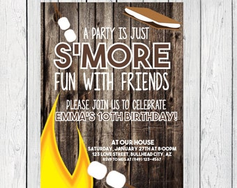 S'mores Bon FireBirthday invitation Wooden Background ***Digital File*** (Smores-bdayRUSTIC)