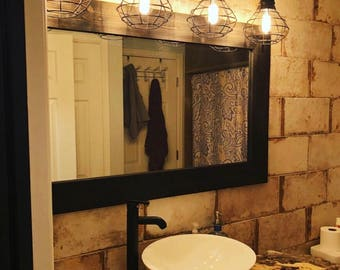 BLACK Mirror, Farmhouse, Wood Frame Mirror, Rustic Wood Mirror, Bathroom Mirror, Wall Mirror, Vanity Mirror, Small Mirror, Large Mirror