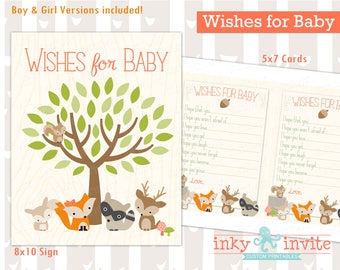 Sweet Woodland Baby Shower Game Wishes for Baby Instant Download Boy\Girl | Forest Friends Baby Shower Activity | Woodland Animals
