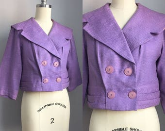 Vintage 1950s Lilac Cropped Jacket Size XS