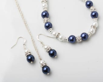 Bridesmaid jewelry set, Navy blue and white earrings and necklace, Navy wedding jewelry, bridesmaid gift, jewelry set, navy blue and white