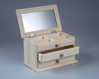 Jewelry Box, Wood Box, Wood Casket, Keepsake Box, Decoupage, Accesory Box, Unique Box, Treasure Box, Unvarnished Wood, Jewelry Storage