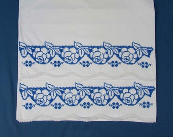 Vintage Cross-stiched Unused Cotton Pillowcases - Blue Rose design with white crochet edge - 32x20