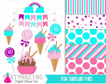 Candyland Clipart Set, Digital Paper Pack, Instant Download -D194