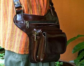 Leather Messenger Bag / Tech Travel Bag / Mens Leather Satchel / Crossbody Hip Bag / Holster / Passport Holder / iphone 7 Plus / Burning Man