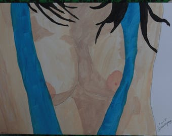 "female nude painting drawing ""Opening"" signed G.Vanspey A4"
