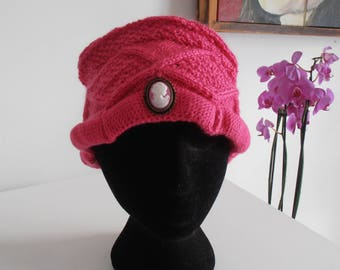 Bright pink wool hat