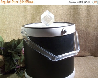 Ice Bucket Brigade Barware by Morgan Vintage 1960's Black White Leatherette Lucite Handle Ice Cube Knob Retro Mad Men Home Bar Accessory