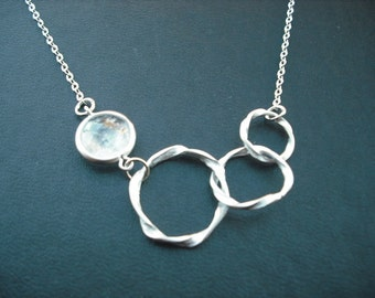 Bridesmaids gift, Wedding Gift, matte white gold plated tirple twisted circle with clear quartz bezel necklace