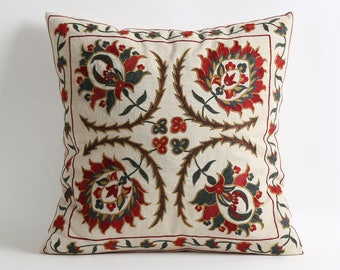 18x18 Suzani Pillowcases, Hand Embroidered Decorative Pillow, Bohemian Ethnic Handmade Pillows For Couch, housewarming gift, gift for her