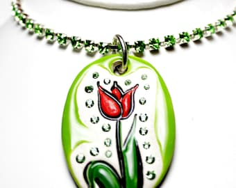 Tulip Sparkle Surly Necklace with Swarovski Crystals and Rhinestone Chain