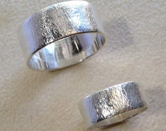 "Sterling Silver Hammered ""Tree Bark"" Band"