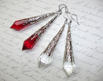 Crystal point filigree silver spike earrings in red or clear