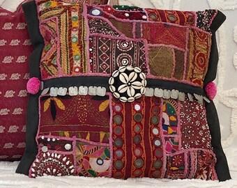 Boho pillow, pompom pillow, pink boho cushion, bohemian homewares, indian textiles, gypsy pillow, global style, eclectic