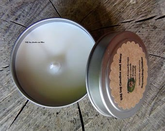 CUSTOM ORDER 10-pc Small 4oz Travel Tin All Natural Aromatherapy 100% Soy Candle in Clean Cotton and Lavender Scent