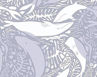 Natural History Fabric from Andover Whales Swimming Tonal Gray Grey Scale