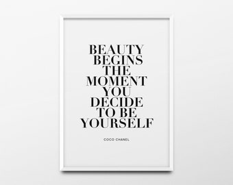 "Coco Chanel Print ""Beauty begins the moment you decide"" Chanel Decor, Chanel Poster, Chanel Quote, Chanel Wall Art, Fashion Print, Printable"