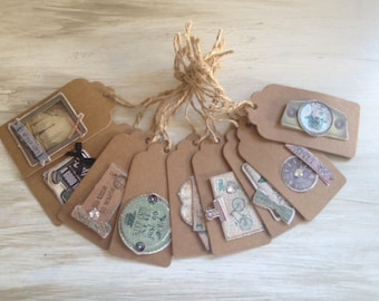 Set of 9 tags in kraft - Vintage