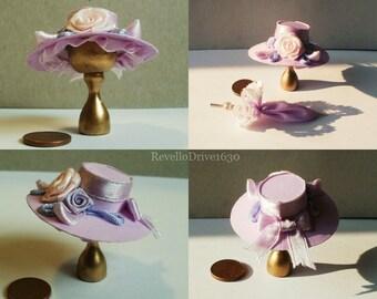 Elegant Lady's Hat, purple, dollhouse miniature 1/12