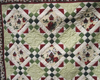 Lap quilt Sofa quilt throw blanket Winter Birdhouses Free shipping cozy flannel back red and green Christmas