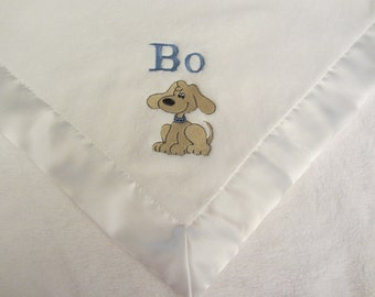 Custom Personalized Name and Puppy Fleece Baby Blanket