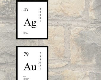 periodic table elements silver and gold wall art print poster printable