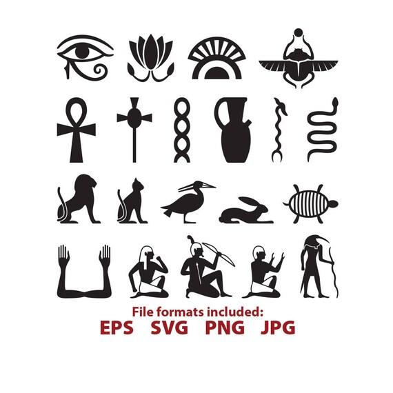 Egyptian Symbols Egypt Hieroglyph Ankh Snake Bird Glyph