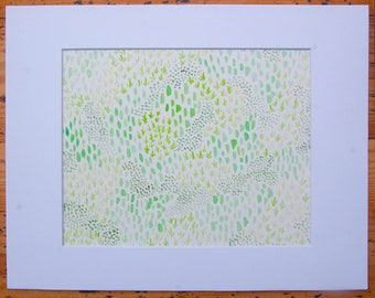 Mossy Carpet 9x12 watercolor painting (matted to 8x10)