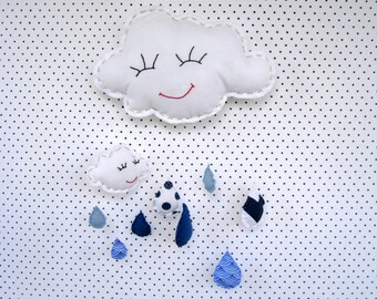 Baby mobile, Mobile, kids bedroom decor,Rain cloud, Silver,