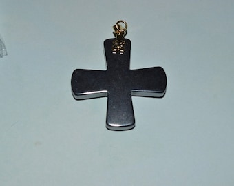 Vintage Hematite Cross Pendants. (1060277)